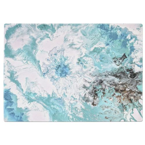 Mint Marble Painting Tempered Glass Chopping Board